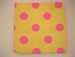 黄色 布 ピンク 水玉 ドット