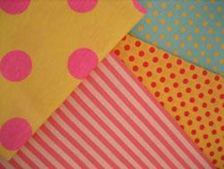黄色 ファブリック ピンク 水玉 ドット